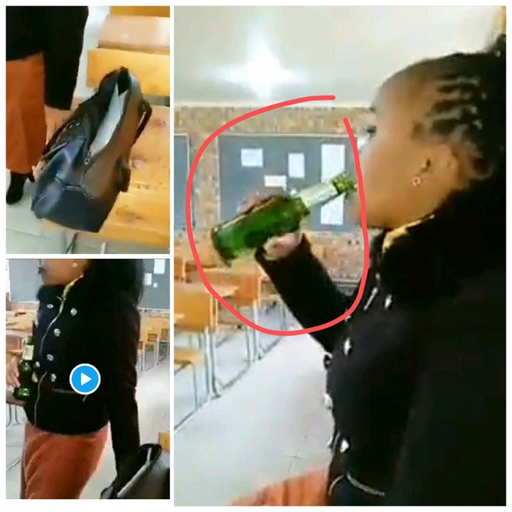 Female Teacher Caught Drinking In Class- What Is She Teaching To The Children [WATCH]