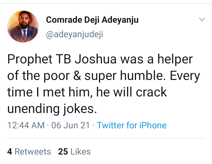 Social Media Reacts To The Death Of TB Joshua