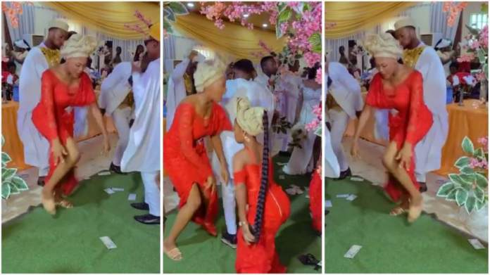 Nigerian Lady Steals Show at Wedding Ceremony, Scatters Dance Floor With Fast Legwork Moves in Viral Video