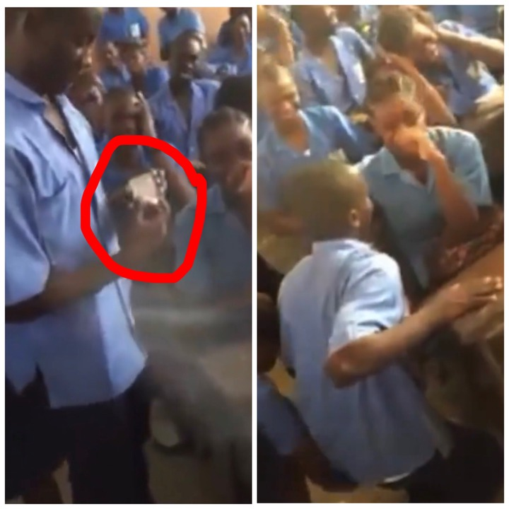 Free SHS: Male Student Surprises Girlfriend By Proposing With A Ring In Front Of Classmates In Class [WATCH]