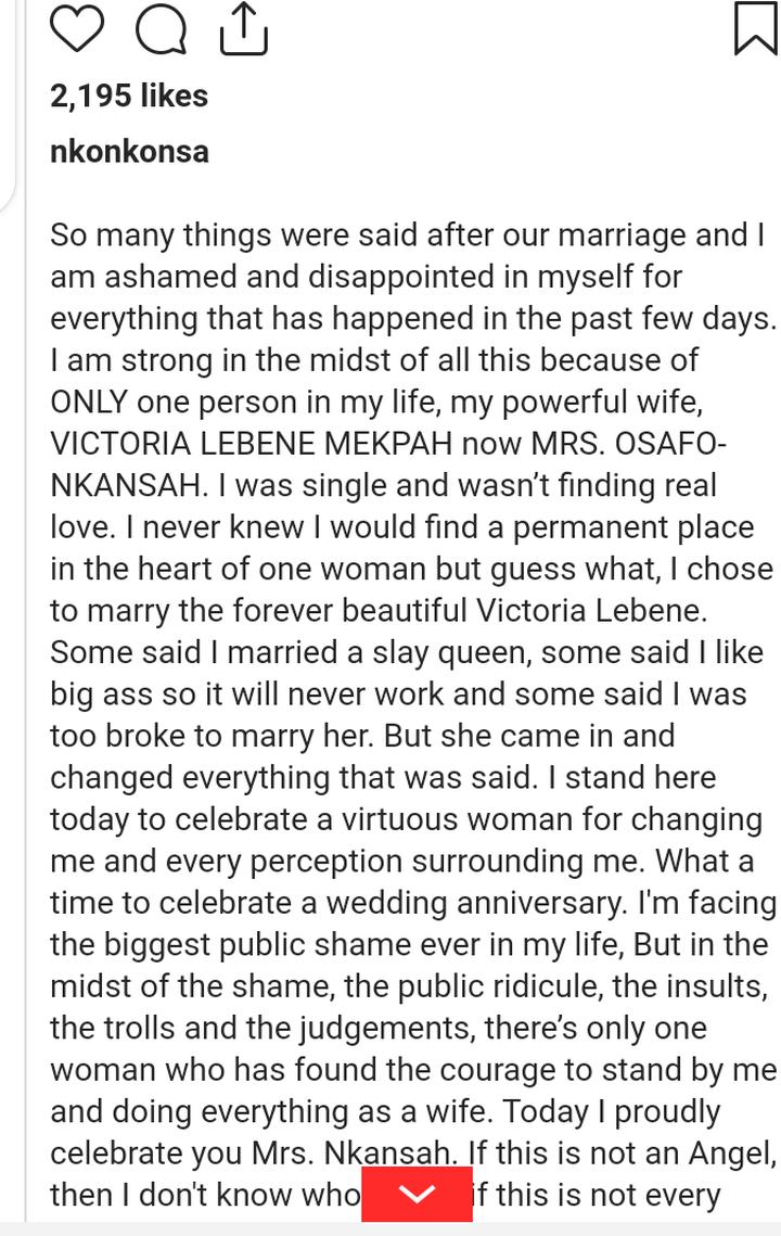 Bogger Nkonkonsa pens emotional apology letter to wife following Abena Korkor saga.